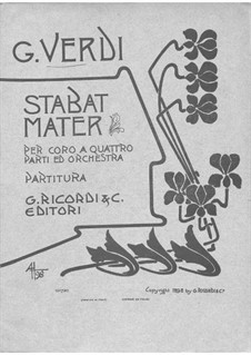 Four Sacred Pieces: No.2 Stabat Mater for choir and orchestra by Giuseppe Verdi