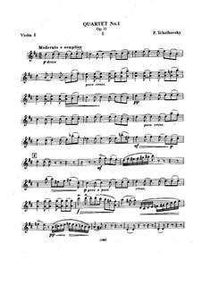 String Quartet No.1 in D Major, TH 111 Op.11: Partes by Pyotr Tchaikovsky