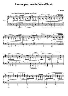 Pavane pour une infante défunte (Pavane for a Dead Princess), M.19: Para Piano by Maurice Ravel