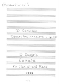 Sonata for Clarinet and Piano: parte Solo by Dmitri Capyrin