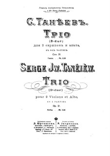 String Trio in D Major, Op.21: Partes by Sergei Taneyev