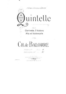 Quintet for Clarinet and Strings: parte violoncelo by Charles de Balorre