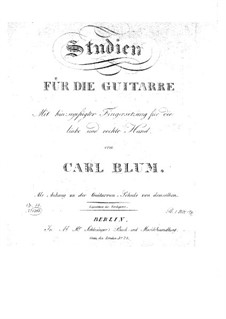 Studies for Guitar, Op.44: For a single performer by Carl Wilhelm August Blum