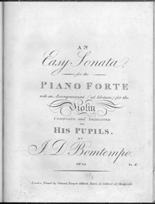 Sonata for Piano and Violin (ad libitum), Op.13: Sonata for Piano and Violin (ad libitum) by João Domingos Bomtempo