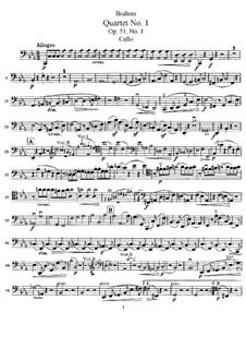 String Quartet No.1 in C Minor, Op.51: parte violoncelo by Johannes Brahms