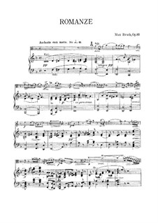 Romance for Viola and Orchestra, Op.85: Version for viola and piano – score, solo part by Max Bruch