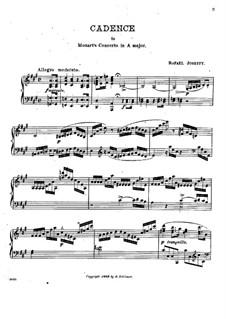 Cadenza to Piano Concerto in A Major by Mozart: Para Piano by Rafael Joseffy
