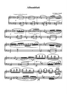 Eight Pieces, Op.85: No.7 Album Leaf by Hans Huber