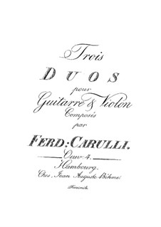Three Duets for Guitar and Violin, Op.4: set completo by Ferdinando Carulli