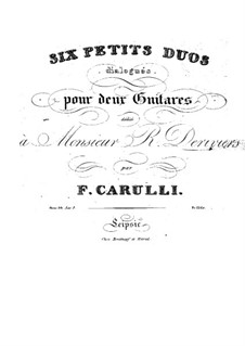 Six Little Duets for Two Guitars, Op.34: Duets No.1-3 by Ferdinando Carulli