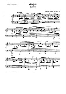 Nine Songs and Ballads, Op.69: No.3 Abschied (Parting), for Piano by Johannes Brahms
