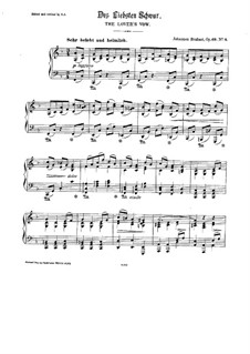 Nine Songs and Ballads, Op.69: No.4 Des Liebsten Schwur (The Lover's Vow), for Piano by Johannes Brahms