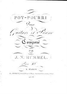 Potpourri for Piano and Guitar, Op.53: Partes by Johann Nepomuk Hummel