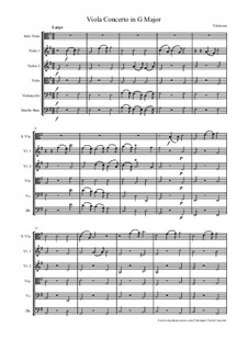 Concerto for Viola, Strings and Basso Continuo in G Major, TWV 51:G9: todas as partes e partituras by Georg Philipp Telemann