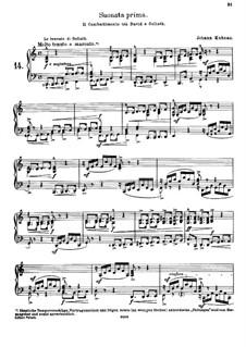 Musikalische Vorstellungen einiger biblischen Historien in sechs Sonaten: Sonate Nr.1 in C-Dur. Version für Klavier by Johann Kuhnau