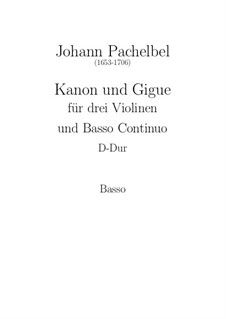 Canon and Gigue in D Major: parte basso continuo by Johann Pachelbel