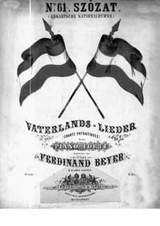 Szózat. Hungarian National Hymn: Para Piano by Béni Egressy