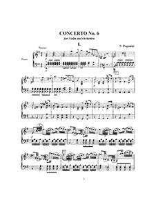 Concerto for Violin and Orchestra No.6 in E Minor, MS 75: Movement I, for violin and piano by Niccolò Paganini