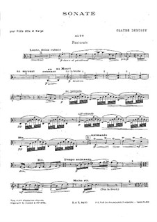Sonata for Flute, Viola and Harp, L.137: partituras completas, partes by Claude Debussy