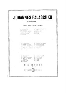 Pieces for Viola and Piano, Op.92: Volume I by Johannes Palaschko