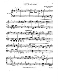 Gigue in D Minor: Para Piano by Johann Mattheson