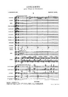 Concerto for Piano and Orchestra in G Major, M.83: Partitura completa by Maurice Ravel