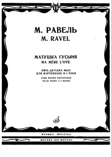 Ma mère l'oye (Mother Goose). Suite, M.60: para piano de quadro mãos by Maurice Ravel