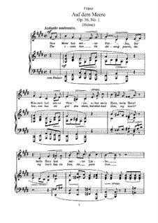 Six Songs, Op.36: Partitura piano-vocal by Robert Franz
