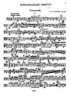 Piano Quintet in G Minor, Op.30: parte violoncelo by Sergei Taneyev