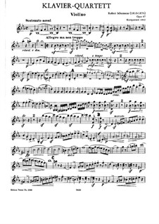 Piano Quartet in E Flat Major, Op.47: parte do violino by Robert Schumann