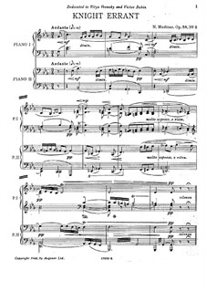 Two Pieces, Op.58: No.2 Knight Errant, for two pianos four hands by Nikolai Medtner