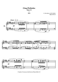Five Preludes, Op.16: introdução No.2 by Alexander Scriabin