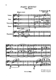 Quintet for Strings and Piano 'The Trout', D.667 Op.114: movimento I by Franz Schubert