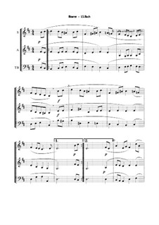 Suite for Lute (or Harpsichord) in E Minor, BWV 996: Bourrée. Version for voices by Johann Sebastian Bach