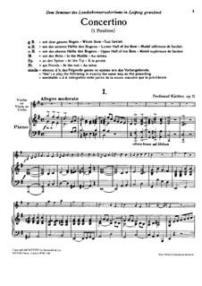 Concertino in G Major for Violin (or Viola, or Cello) and Piano, Op.11: Concertino in G Major for Violin (or Viola, or Cello) and Piano by Ferdinand Küchler