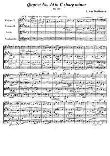 String Quartet No.14 in C Sharp Minor, Op.131: todas as partes e partituras by Ludwig van Beethoven