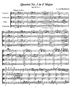 Quartet No.1 in F Major: todas as partes e partituras by Ludwig van Beethoven