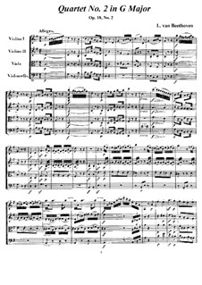Quartet No.2 in G Major: todas as partes e partituras by Ludwig van Beethoven