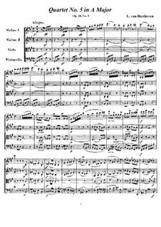 Quartet No.5 in A Major: todas as partes e partituras by Ludwig van Beethoven