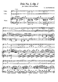 Three Piano Trios, Op.1: Trio No.1, score and parts by Ludwig van Beethoven