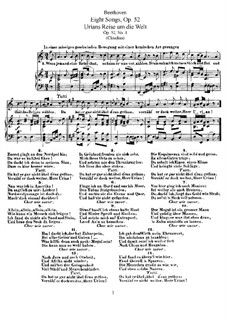 Eight Songs, Op.52: Partitura piano-vocal by Ludwig van Beethoven