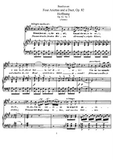 Four Ariettas and Duet, Op.82: Partitura piano-vocal by Ludwig van Beethoven