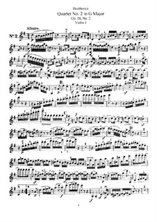Quartet No.2 in G Major: violino parte I by Ludwig van Beethoven