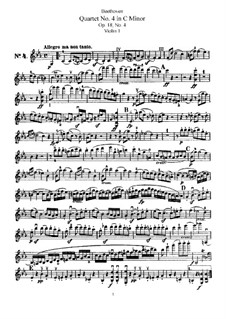 Quartet No.4 in C Minor: violino parte I by Ludwig van Beethoven
