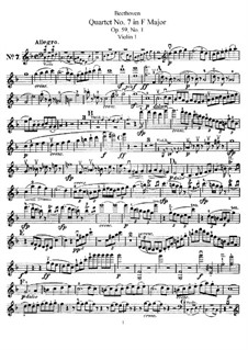 String Quartet No.7 in F Major, Op.59 No.1: violino parte I by Ludwig van Beethoven
