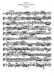 String Quartet No.8 in E Minor 'Rasumowsky-Quartet', Op.59 No.2: violino parte I by Ludwig van Beethoven