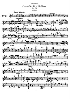 String Quartet No.10 in E Flat Major 'Harp', Op.74: violino parte I by Ludwig van Beethoven