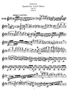 String Quartet No.11 in F Minor 'Serioso', Op.95: violino parte I by Ludwig van Beethoven
