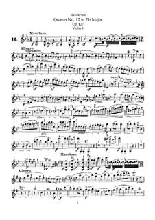 String Quartet No.12 in E Flat Major, Op.127: violino parte I by Ludwig van Beethoven