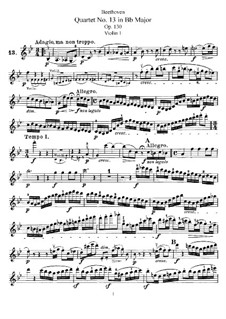String Quartet No.13 in B Flat Major, Op.130: violino parte I by Ludwig van Beethoven